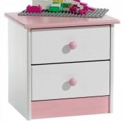 IDIMEX Table de chevet en pin RONDO, lasuré blanc/rose