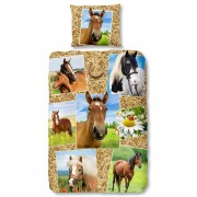 Good Morning Capa de edredão 5752-P HORSES 135x200 cm multicor
