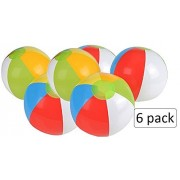 6 Pack Inflatable Beach Balls - 12 Inch, Rainbow Colored - For Swimming Pools, Pool Party, Playing, Volleyball, Beach, Ocean, Kids, & Adults - Kidsco