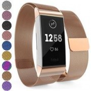 Curea Ceas Yousave Fitbit Charge 3 Milanese Large Rose Gold