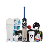 Playking 10 Pcs Season Cricket Kit Including 1 Cricket Kit Bag, 1 Bat, 1 Helmet, 1 Pair Pads, 1 Pair Batting Gloves, 1 Abdominal Guard, 1 Arm Band, 1 Season Ball, 1 Supporter & Center Guard, Color & Design May Vary - Size 4