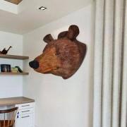 vidaXL Декоративна глава на мечка за стената, естествен вид
