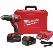 Milwaukee M18 Lithium-Ion Cordless Compact Electric Hammer Drill/Driver Kit With 2 Batteries - 1/2Inch Keyless Chuck, 1,800 RPM, Model 2607-22