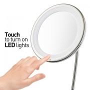 Smink és kozmetikai tükör LED lámpával - 5x nagyítású-kerek