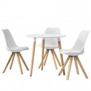 [en.casa]® Set de comedor mesa redonda blanca [Ø80cm] con 3 sillas blancas tapizadas