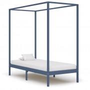 vidaXL Рамка за легло с балдахин, сива, бор масив, 100х200 см