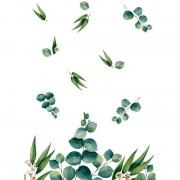 Duni Design tafelkleed/tafellaken eucalyptus wit/groen 138 x 220 cm