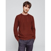 Brice Pull col rond uni maille tricot torsades