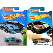 Hw Exotics Lamborghini Huracan Lp620-2 Super Trofeo New Model 2016 & Sesto Elemento Blue Set Of Hot Wheels 2 Cars Workshop Night Burnerz In Protective Cases