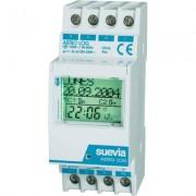 Suevia DIN sínes digitális heti horoszkópos időkapcsoló óra, 2 áramkör, 250V/16A, 22 program, ASTRO