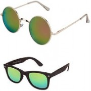 Amour-Propre Aviator Sunglasses(Golden, Green)