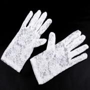 V&V Společenské rukavice 21 cm krajkové (bílá barva) - V&V