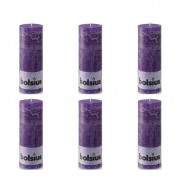 Bolsius Rustic Pillar Candles 6 pcs 190x68 mm Purple