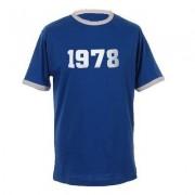 geschenkidee.ch Jahrgangs-Shirt für Erwachsene Royalblau/Weiss, Grösse XL