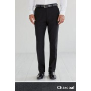 Mens Next Plain Front Slim Fit Trousers - Charcoal
