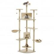 vidaXL Penjalica za mačke sa stupovima za grebanje od sisala 203 cm bež i bijela
