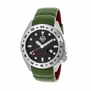 Shield Caruso Leather-Band Pro-Diver Swiss Watch w/Date - Silver/Black/Green SLDSH0902
