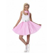 Disfarce anos 50 cor-de-rosa as bolas brancas mulher