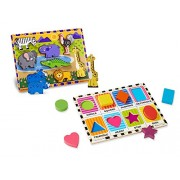 Melissa & Doug Wooden Chunky Puzzle Set - Wild Safari Animals and Shapes