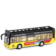 Emob Double Decker Metal Pull Back Yellow City Bus Toy with Light and Sound Features (Multicolor)