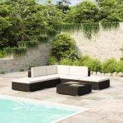 vidaXL Set mobilier de grădină din poliratan negru 15 buc.
