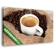 Egy csésze gőzölgő kávé, kávészemekkel (40x25 cm, Vászonkép )
