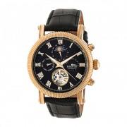 Heritor Automatic Winston Semi-Skeleton Leather-Band Watch - Rose Gold/Black HERHR5206