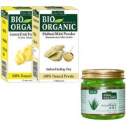 Indus valley Bio Organic Lemon Peel Powder + Multani Mitti + Aloevera Gel Combo-Set of 3