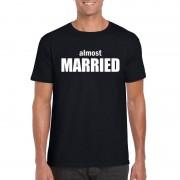 Bellatio Decorations Almost Married tekst t-shirt zwart heren