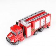 edealing(TM) Mini Small Fire Engine Truck Toy with Extending Ladder LED Lights Siren Sounds Go Action