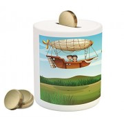 Explore Coin Box Bank by Ambesonne, Girl and Boy on a Zeppelin Flying on Cartoon Style Forest Fantasy Explorer Children, Printed Ceramic Coin Bank Money Box for Cash Saving, Multicolor