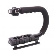 U-Grip Triple Schoen Mount Video Action Stabilisatoren Handvat Grip Rig voor Canon Sony DSLR Camera voor iPhone 7 plus Gopro Smartphone