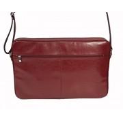 Skórzna torba na ramię z wyjmowaną kieszenią na laptopa - wiśniowa