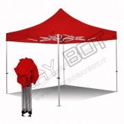 ray bot Gazebo pieghevole 4x4 rosso Exa 45mm alluminio senza laterali PVC 350g
