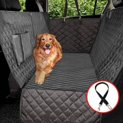 Vailge 100% Waterproof Dog Car Seat Covers Dog Seat Cover with Side Flaps Pet Seat Cover for Back Seat Black Hammock Convertible
