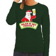 Shoppartners Foute kersttrui groen Waar is het Feestje voor dames