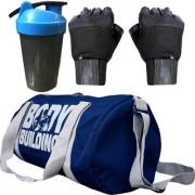 CP Bigbasket Combo Set Polyester 40 Ltrs Blue Sport Gym Duffle Bag Gym Shaker (400 ml) Gym Fitness Gloves (Black)