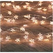Zilveren kerst verlichting sterren met timer warm wit 1 meter - Sfeerverlichting - kerstversiering voor binnen gebruik
