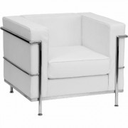 Flash Furniture Leather Reception Chair with Encasing Frame - White, 35Inch W x 28 1/2Inch D x 27 1/2Inch H, Model ZBREG8101CHWH
