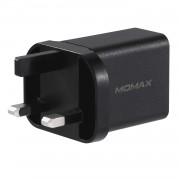 MOMAX Universal Phone Power Adapter USB Type-C PD + QC 3.0 18W Wall Charger UK Plug - Black