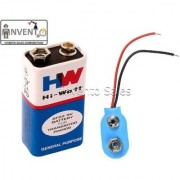 Invento 2pcs 9V DC HI-Watt Original 6F22M Non Rechargeable Battery with snap on Connector