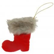 Geen 1x Kersthangers figuurtjes Kerstman laars rood/grijs 8 cm