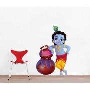 EJA Art Cute bal Krishna makhan chor Wall Sticker (Material - PVC) (Pec - 1) With Free Set of 12 pec butterflies sticker