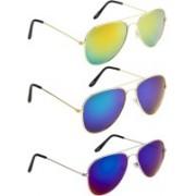 NuVew Aviator Sunglasses(Blue, Golden, Green)