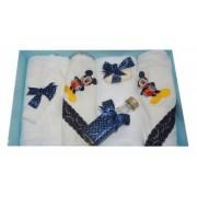 Trusou pentru botez 7 piese brodat cu figurina Mickey Mouse Little Angel bleumarin