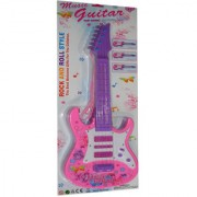 New Pinch Rockband Musical Guitar for Kid Battery Operated With Pop Music Fetching Light and Sound-pink