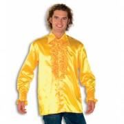 Luxe heren rouche overhemd geel