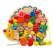 Alcoa Prime Childrens/Kids String Along Wooden Lacing Threading Beads Hedgehog Shape Toy