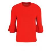 Boss 3/4 Arm Pullover Rundhals Trompetenärmel mittelrot