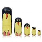 ITOS365 Set Of 5 Piece Hand Paints Matryoshka Traditional Russian Nesting Stacking Wooden Penguin Nested Dolls for Kids
